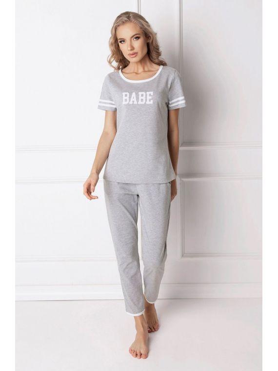 Piżama Damska Model Babe Long Grey