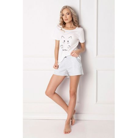 Piżama Damska Model Catwoman Short White
