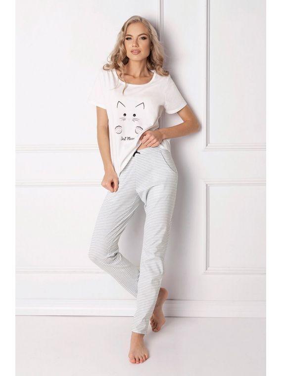 Piżama Damska Model Catwoman Long White