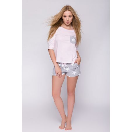 Piżama Damska Model Camille Pink/Grey