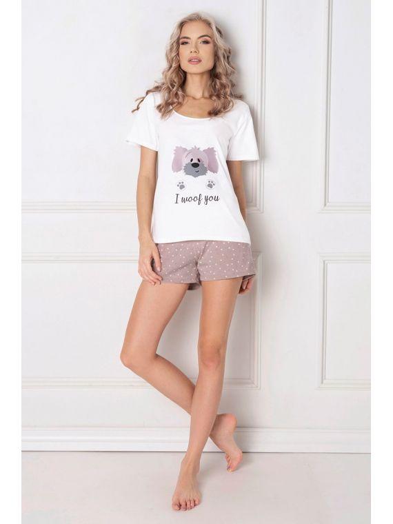 Piżama Damska Model Woof Short Ecru/Mocca
