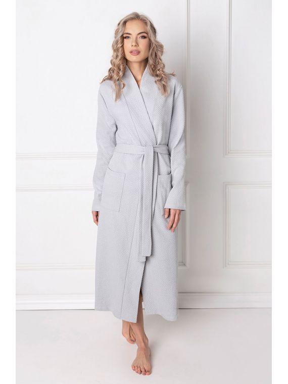 Szlafrok Damski Model Marshmallow Long Grey