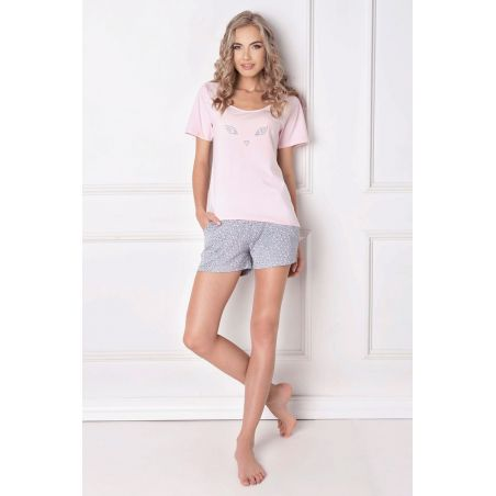 Piżama Damska Model Wild Look Short Pink/Grey