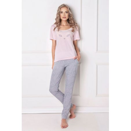 Piżama Damska Model Wild Look Long Pink/Grey