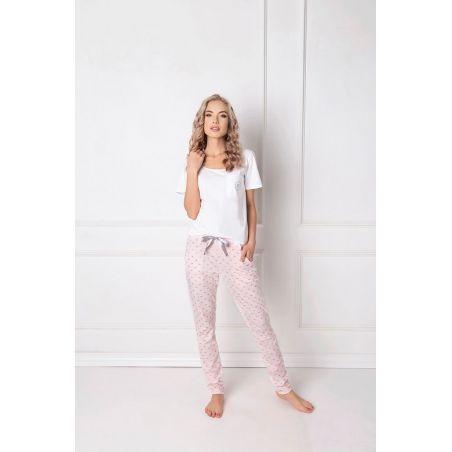 Piżama Damska Model Q Long White/Pink