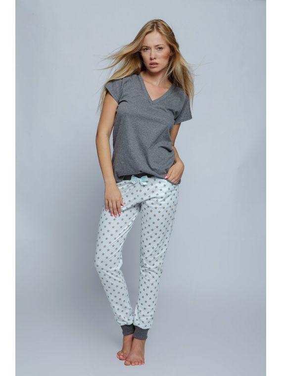 Piżama Damska Model Agnes Grey/Mint