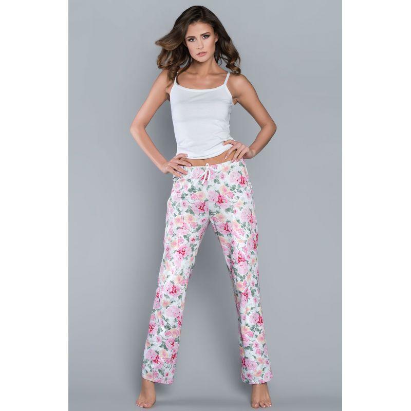 Spodnie Piżamowe Model Peonia dł.sp. White/Flowers