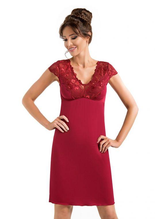 Koszula Nocna Model Romina Burgund - Donna