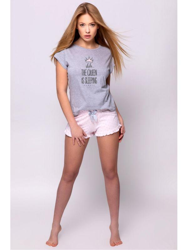 Piżama Damska Crown Grey/Pink - Sensis