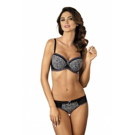 Biustonosz usztywniany Model B4 lavender Black/Lawenda