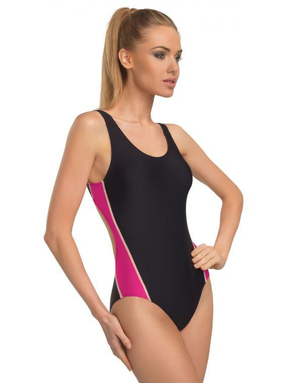 Kostium Kąpielowy Model  Wenda I Black/Fuksja