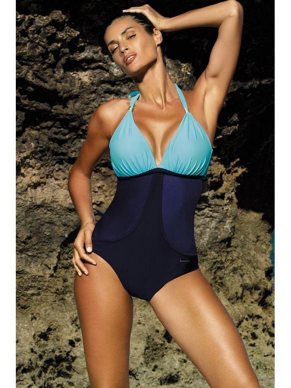 Kostium Kąpielowy Model Priscilla Skipper-Cosmo M-428 Sky Blue/Navy