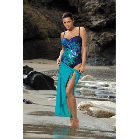 Kostium Kąpielowy Model Estera Blueberry-Oltemare M-322 Navy/Blue Flowers