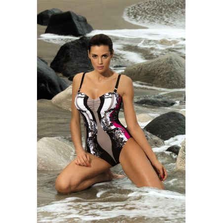 Kostium Kąpielowy Model Miriam Nero-Venere M-329 Black/Beige/Red