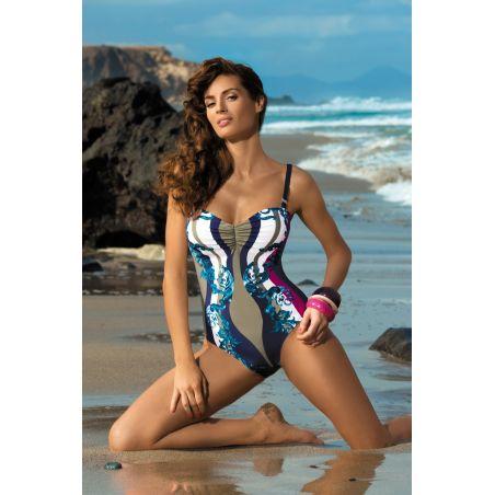 Kostium Kąpielowy Model Miriam Cosmo-Thai M-329 Navy/Beige/Dark Pink